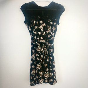 Black Floral Cap Sleeve Dress